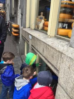 peeking in to a cheese shop